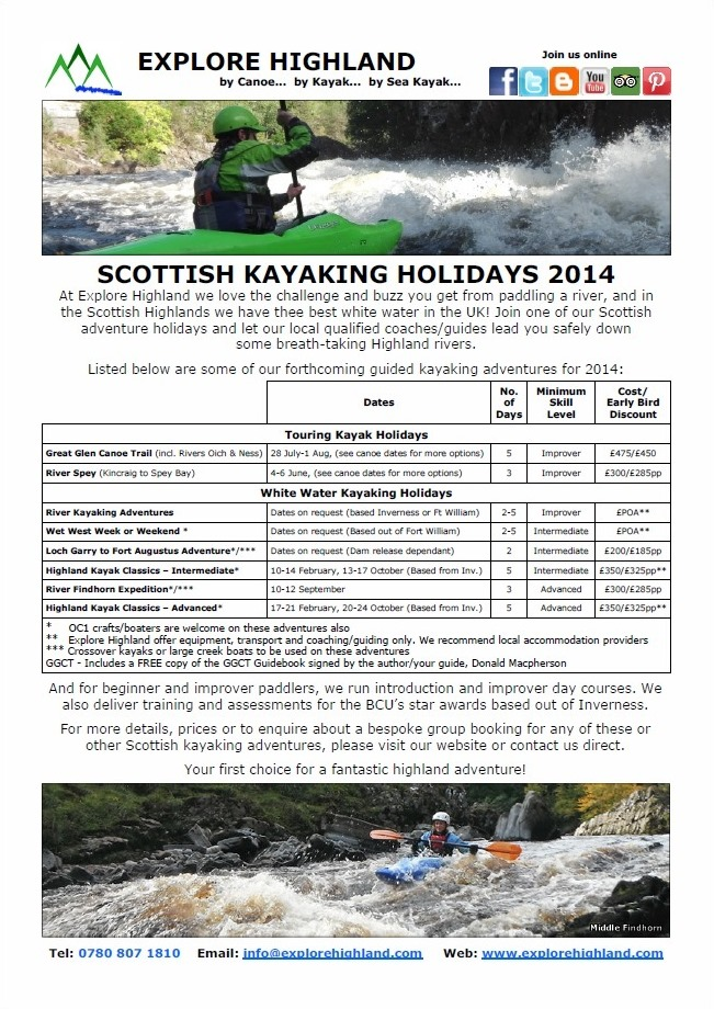 Scottish Kayaking Holidays 2014