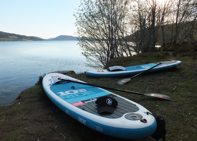 Paddle boards by Loch Duntelchaig