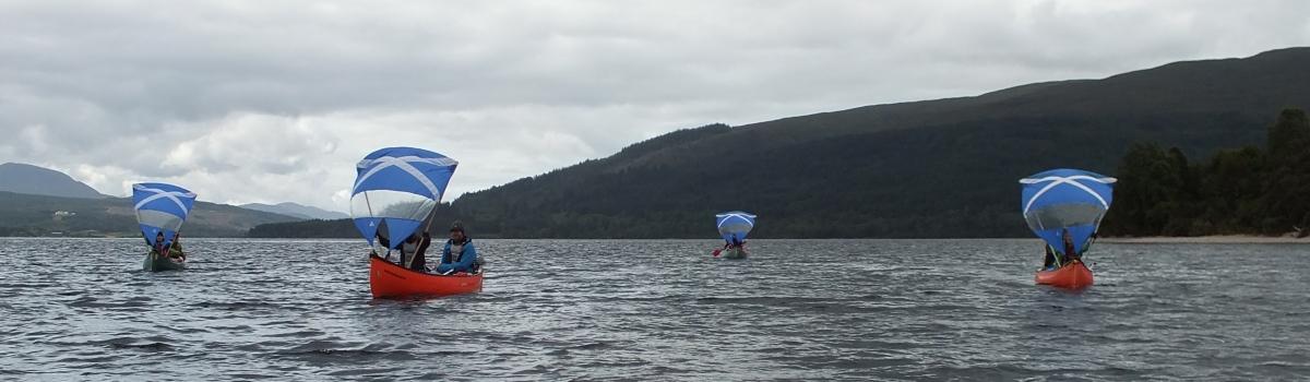 Canoe sailing on Loch Ness