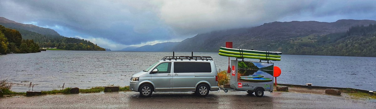 Red SUP VW and Box Trailer at Oich Pier 1200×350
