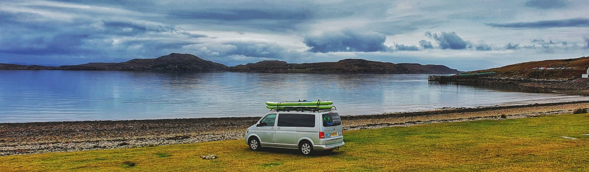 Red SUP VW at Polbain Beach 1200×350