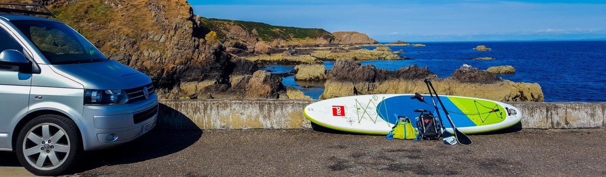 Red SUP VW at Portknockie Harbour 1200×350